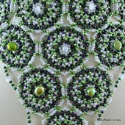 Green Circles Seed Bead Choker Necklace