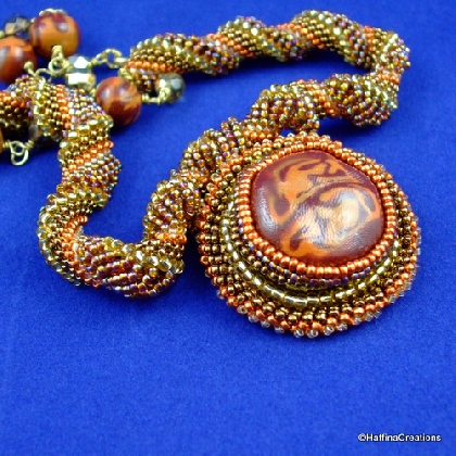 Caramel Wafer Dutch Spiral Necklace with Polymer Clay