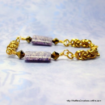 Purple Crazy Agate and Byzantine Bracelet