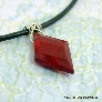 Mens Red Diamond Pendant on Leather