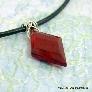 Mens Red Diamond Pendant on Leather