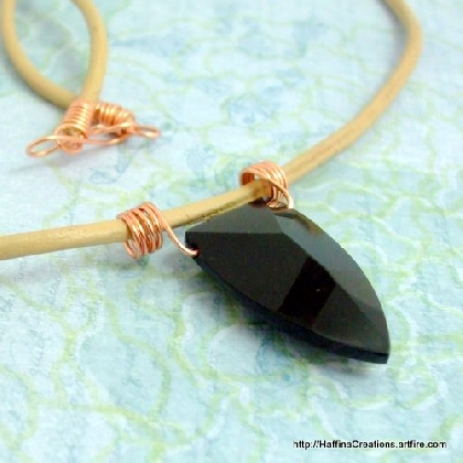 Black Glass Arrowhead Mens Leather Necklace
