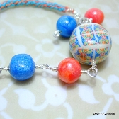 Kumihimo and Polymer Clay Bracelet Anklet