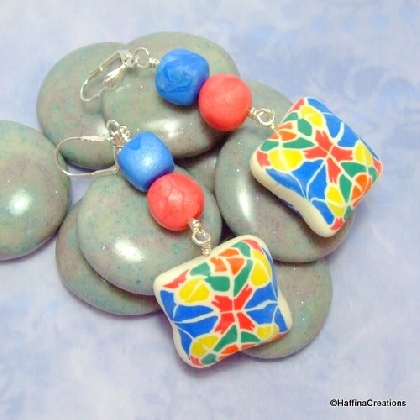 Kaleidoscope Polymer Clay Earrings