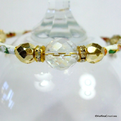 White Cloisonne and Gold Memory Wire Bangle