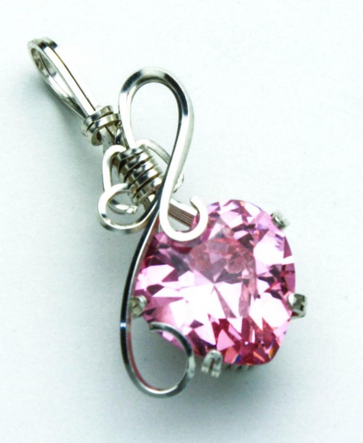 Pink Heart CZ Pendant