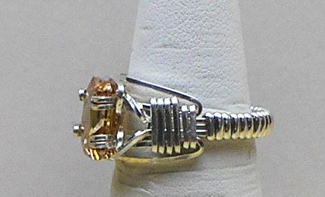 Champagne CZ SZ 6 Silver Filled Wire Ring