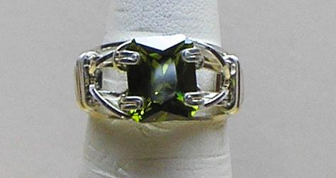 Peridot CZ Size 5 Silver Filled Wire Ring