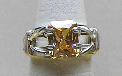 Champagne CZ SZ 5 Silver Filled Wire Ring