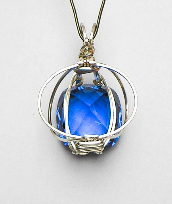Blue Topaz Orbit Argentium Sterling Silver Pendant