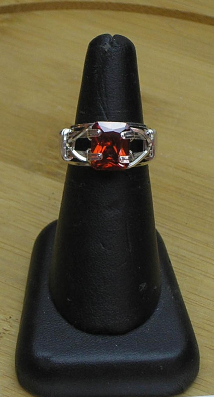 Garnet CZ Gemstone Prong Set Silver Filled Wire Ring