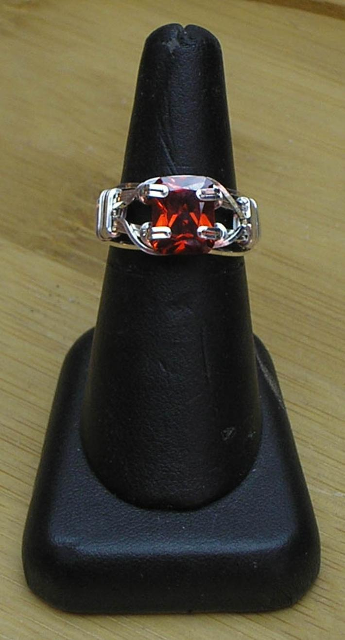 Garnet CZ Gemstone Prong Set Silver Filled Wire Ring