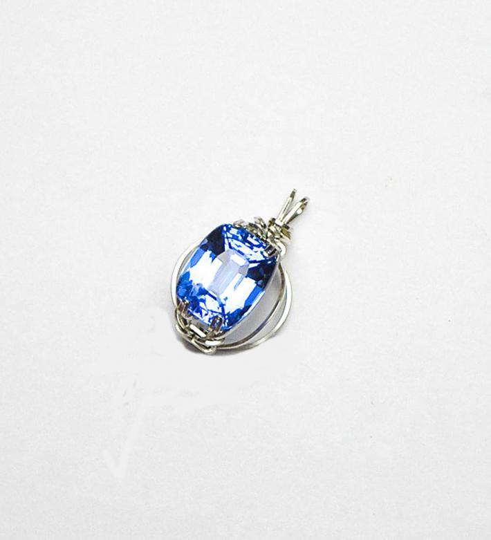 Blue Quartz Argentium Sterling Silver Pendant