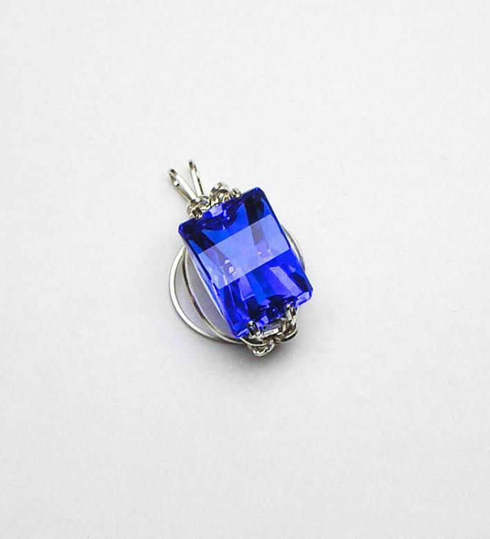 Cornflower Blue Quartz Orbit Argentium Sterling Silver Pendant