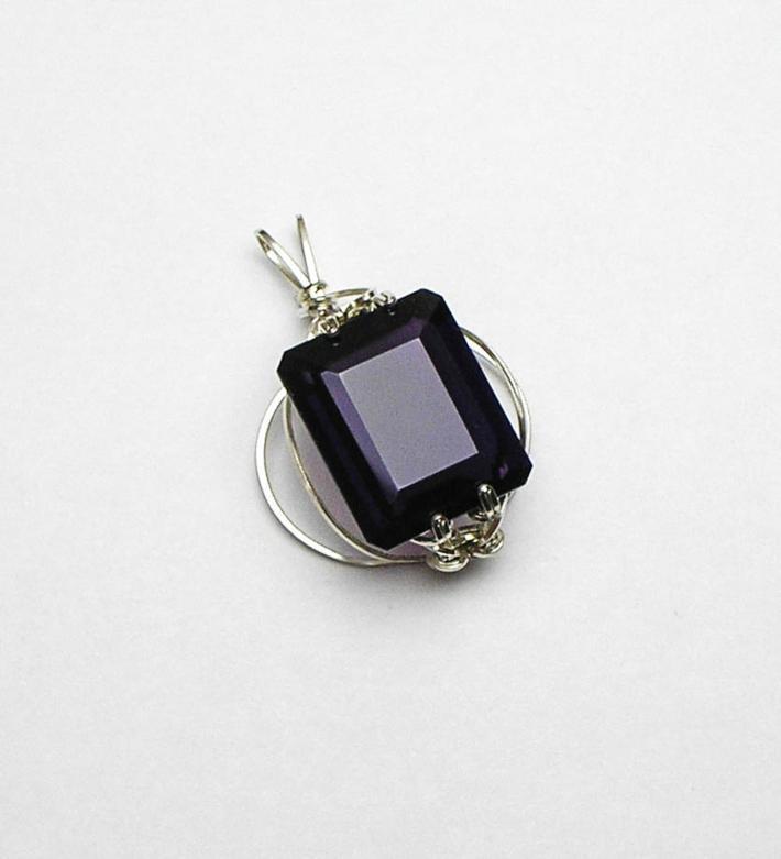 Purple Amethyst Argentium Sterling Silver Orbit Pendant