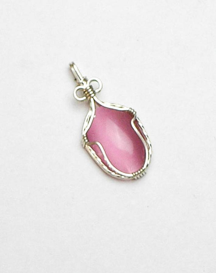 Pink Catseye Cabochon Simple Wrap Silver Filled Wire Pendant