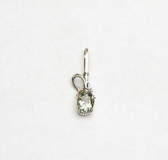 Green Amethyst Gemstone Argentium Sterling Silver Pendant