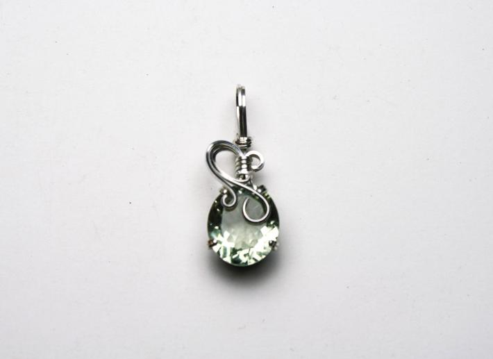 White Topaz Oval Gemstone Argentium Sterling Silver Pendant