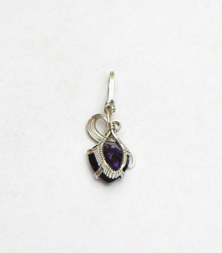 Amethyst CZ Heart Gemstone Silver Filled Pendant