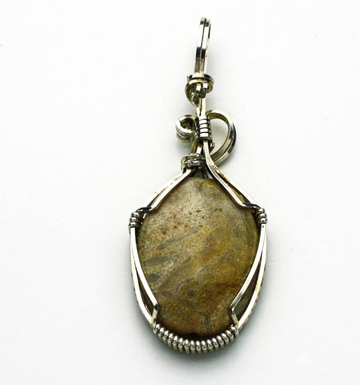 Fossilized Coral Cabochon Argentium Sterling Silver Pendant