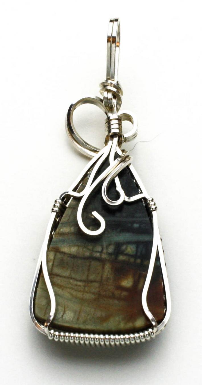 Picasso Jasper Cabochon Silver Filled Wire Pendant