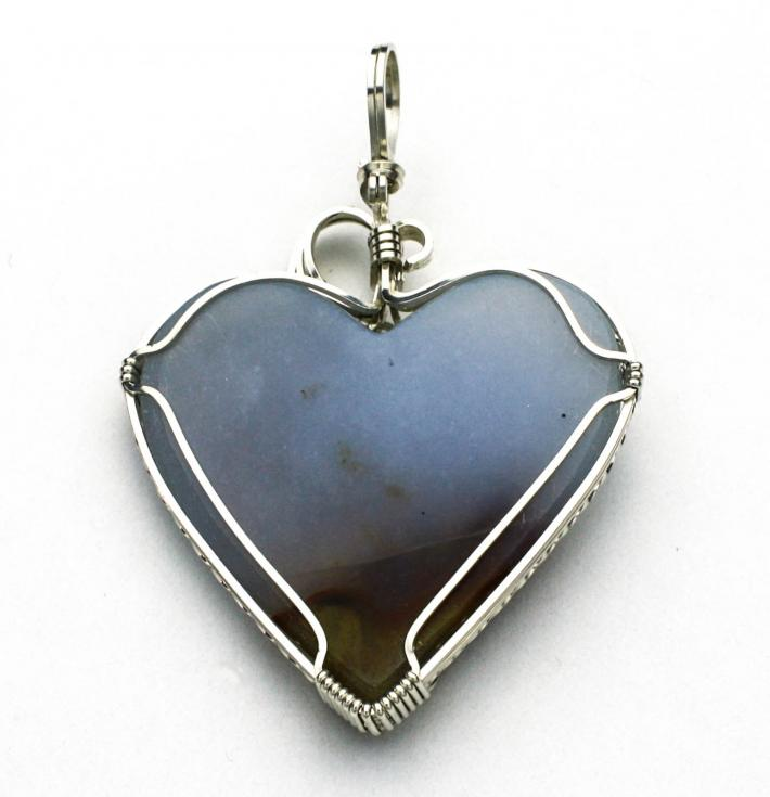 Agate Heart Cabochon Silver Filled Pendant