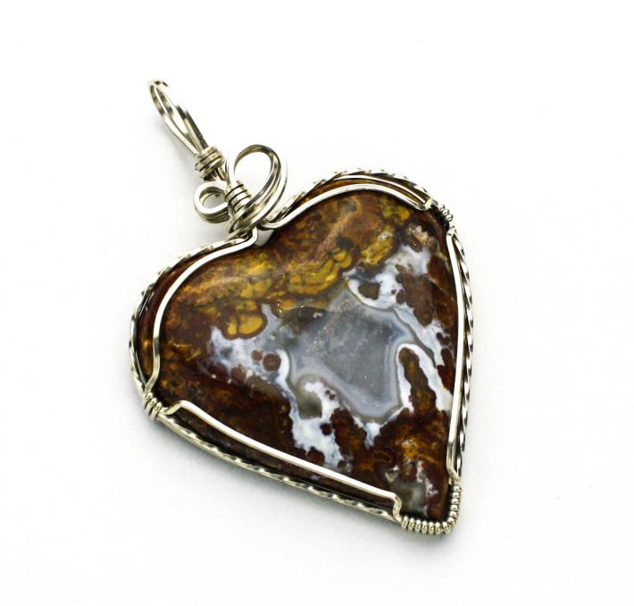 Moroccan Agate Heart Cabochon Argentium Sterling Silver Wire Pendant