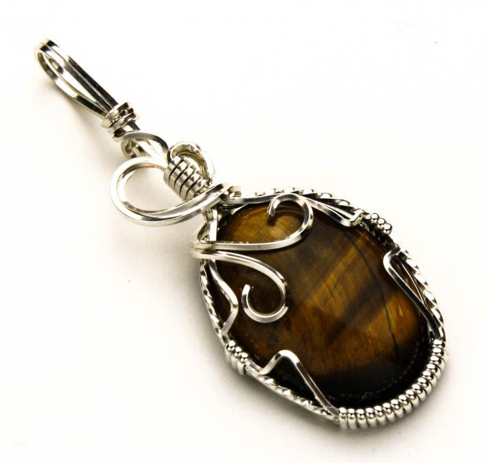Tigereye Cabochon Silver Filled Wire Pendant