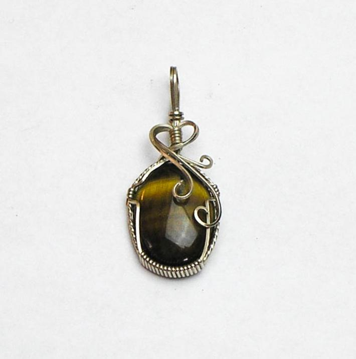 Tigereye Cabochon Sterling Silver Wire Pendant
