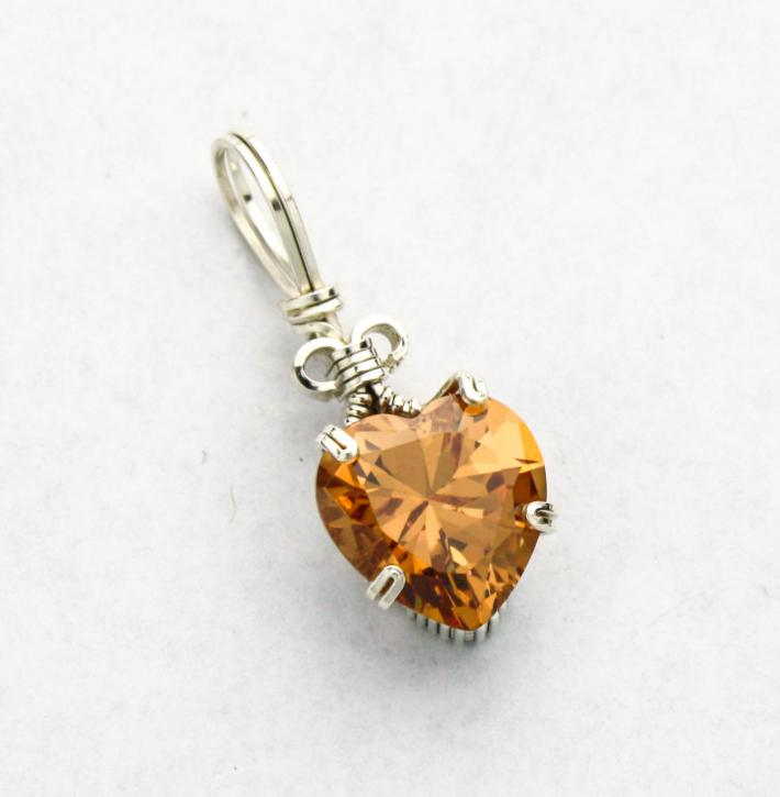 Champagne CZ Heart Silver Filled Wire Pendant