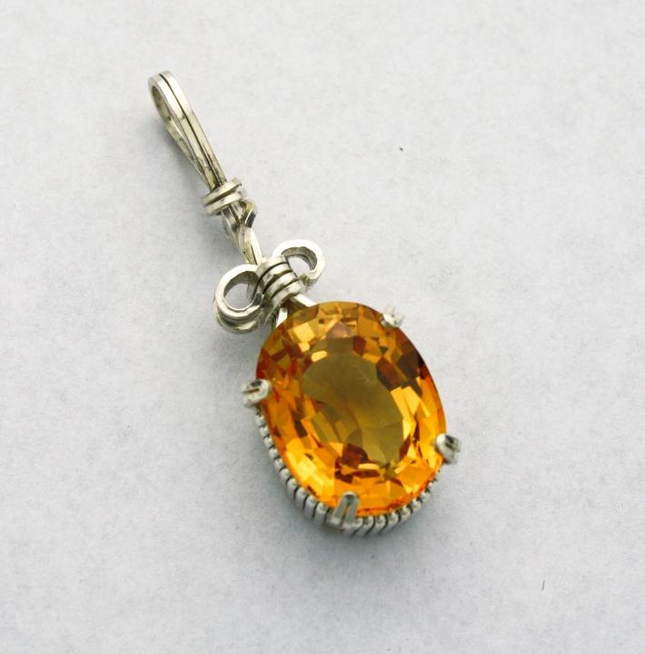 Yellow Sapphire Lab Created Gemstone Silver Filled Wire Pendant