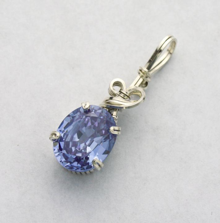 Lavender Blue CZ Gemstone Silver Filled Wire Pendant