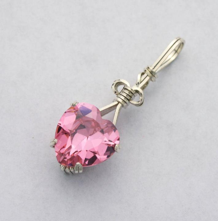 Pink CZ Heart Silver Filled Wire Pendant