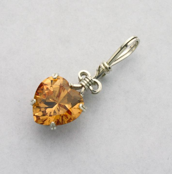 Champagne CZ Heart Gemstone Silver Filled Wire Pendant