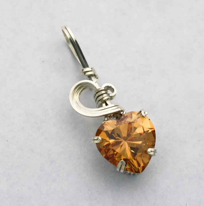 Champagne Heart CZ Gemstone Silver Filled Wire Pendant
