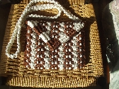 Macrame Brown and Gold Sparkle Purse