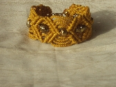 Gold Macrame Bracelet with Bronze Accent