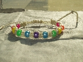 Macrame Rainbow Bracelet Gold Sparkle