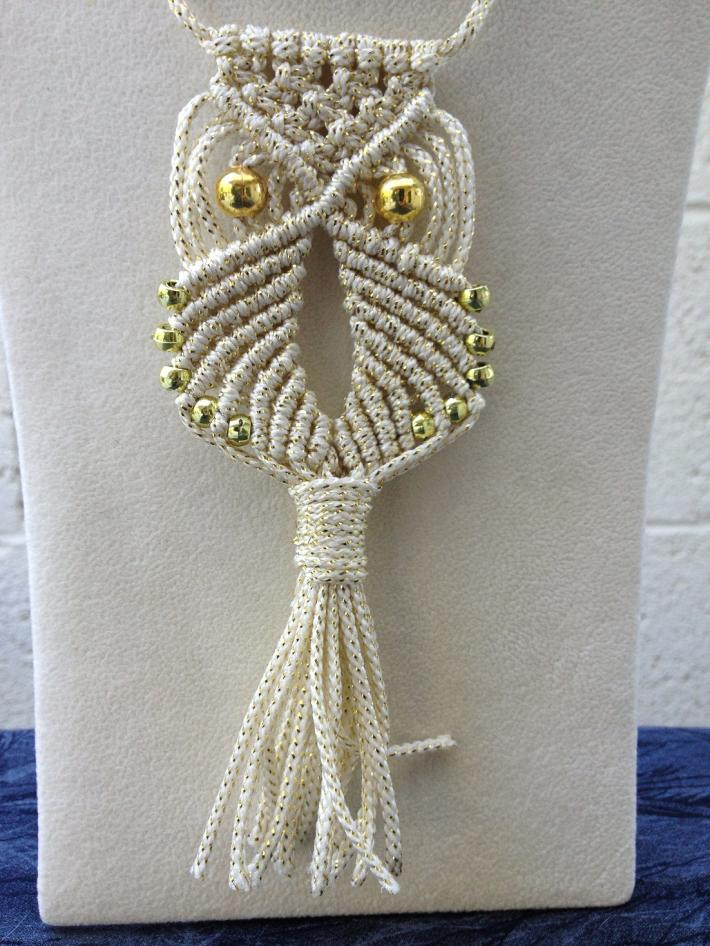 Macrame Owl Necklace Gold Sparkle