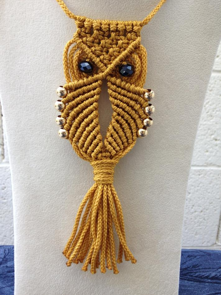 Macrame Owl Necklace Gold