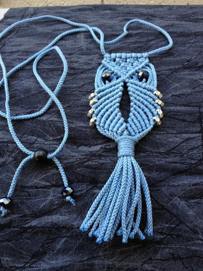 Macrame Owl Necklace Blue