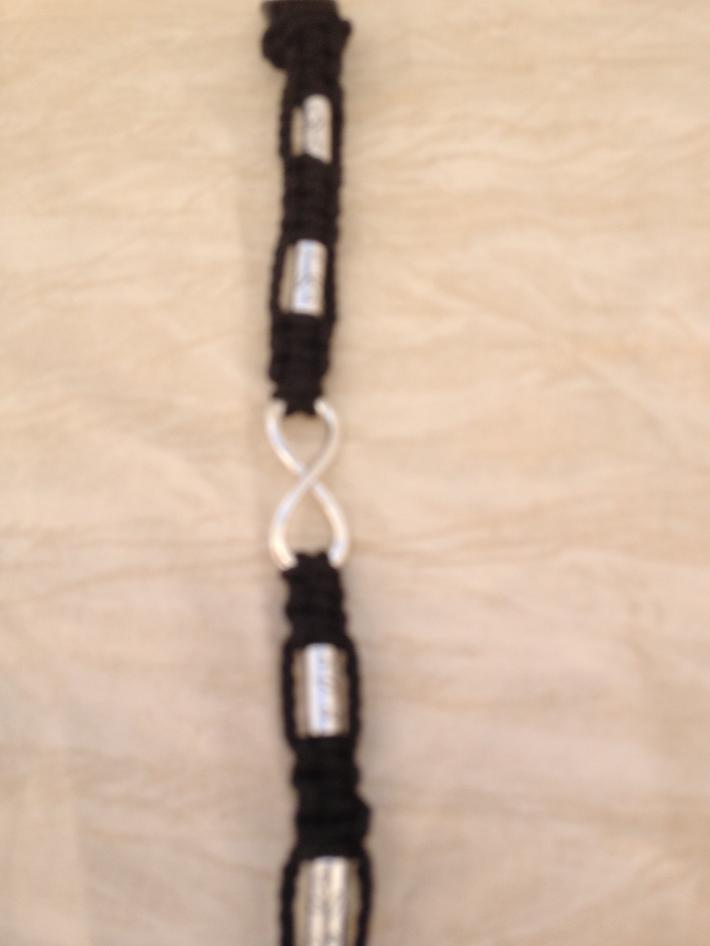 Macrame Infinity Bracelet Black Silver