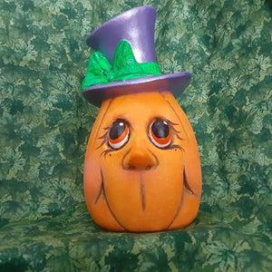 Ceramic Happy Pumpkin with Top Hat