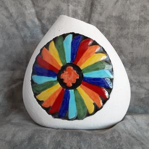 Ceramic Vase with Brightly Colored Emblem