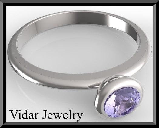 ON SALE Silver Engagement Ring With Blue Sapphire
