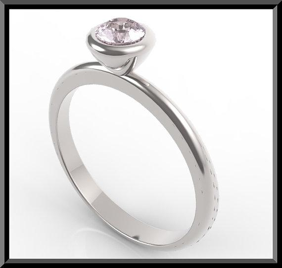 ON SALE Silver Engagement Ring With Rose Quartz