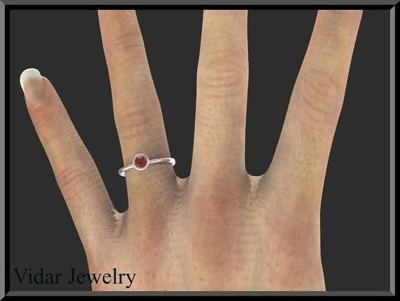 ON SALE Silver Engagement Ring With Red Garnet