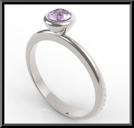 ON SALE Silver Engagement Ring With Purple Amethyst