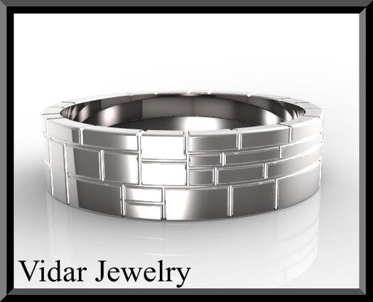 ON SALE Classic Sterling Silver Mens Wedding Ring