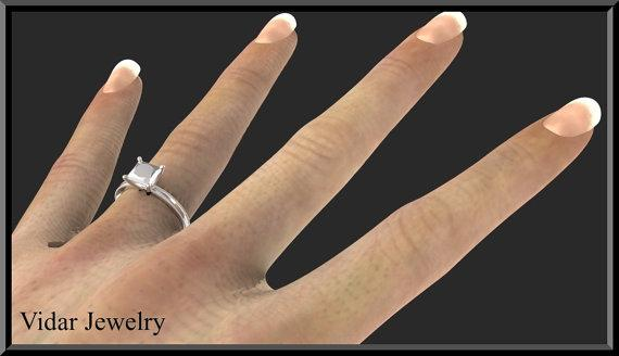 ON SALE Sterling Silver Princess Cut Engagement Ring